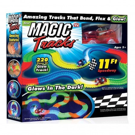 Magic Tracks (мэджик трек) - светящийся гибкий гоночный трек (трасса, дорога) 220 деталей (оригинал)